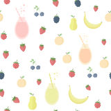 Seamless background with juice and fruits and berries Stock Images