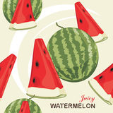 Seamless background with juicy watermelon Royalty Free Stock Photos