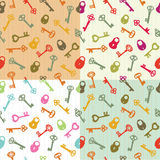 Seamless background keys and locks Stock Photo