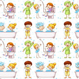 Seamless background with kids in bathtub Stock Images