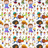 Seamless background with kids doing different activities Royalty Free Stock Photos