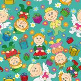 Seamless background: kids with gifts and hearts Royalty Free Stock Photography