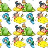Seamless background with kids sleeping. Illustration Stock Photo