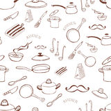 Seamless background with kitchen tools. Seamless Stock Photo