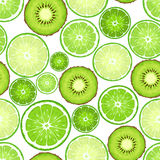 Seamless background with kiwi and lime slices. Vector illustration. Royalty Free Stock Photos