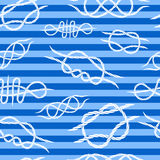 Seamless background of knots at sea striped background.  Royalty Free Stock Photography