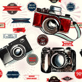 Seamless background with labels and hand drawn cameras Royalty Free Stock Images