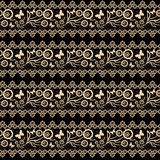 Seamless background.  lace pattern beige on black background Stock Image