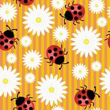 Seamless background with ladybirds and flowers Stock Photo