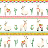 Seamless background with lama and Aztec pattern Stock Image