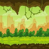 Seamless background. Landscaped jungle for game design. Parallax is ready. vector illustration