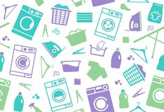 Seamless background of a laundry. Seamless background on a theme of washing and care of clothes Royalty Free Stock Photography