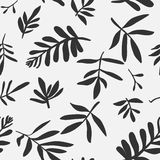 Seamless background with leaves. Silhouette in graphic style Stock Photo