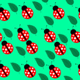 Seamless background with leaves and ladybug Royalty Free Stock Photos
