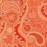 Seamless background with leaves and paisley Royalty Free Stock Photo