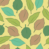 Seamless background with leaves. Seamless pattern with colored leaves of different shapes Royalty Free Stock Images
