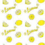 Seamless background with lemon. Lemon on white field. Seamless background Royalty Free Stock Photo
