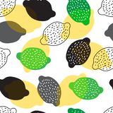 Seamless background with lemons different colors. On a white background vector illustration
