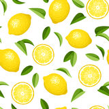 Seamless background with lemons. Seamless background with yellow lemons and green leaves on white Royalty Free Stock Images