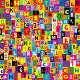 Seamless background with the letters of the alphabet. Seamless background with numbers and the letters of the alphabet Stock Images