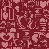 Seamless background from letters 'I love you'.  Stock Photos