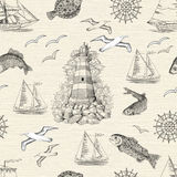 Seamless background with lighthouse, fish, gulls and boats. Seamless texture background with engraved lighthouse, fish, gulls and boats. Sea doodle illustration Royalty Free Stock Images