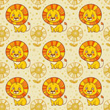 Seamless background with a lion and flowers. Royalty Free Stock Photography