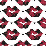 Seamless background of lips and hearts. Vector seamless background of lips and hearts Royalty Free Stock Photography