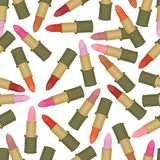 seamless background with lipsticks Stock Images