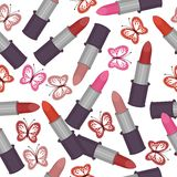 Seamless background with lipsticks Royalty Free Stock Image