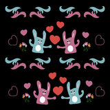 Seamless background with love hares and hearts Royalty Free Stock Images
