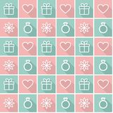 Seamless background with love symbols. Seamless background with flat style elements Royalty Free Stock Photo