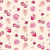 Seamless background made of berries in linear style Stock Image