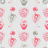 Seamless background made of berries in linear style Royalty Free Stock Images