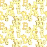 Seamless background made of bitcoin signs. Seamless background texture pattern made of golden bitcoin peer-to-peer crypto currency signs over white Stock Photo