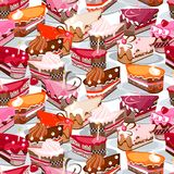 Seamless background made of cake slices Royalty Free Stock Photography