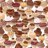 Seamless background made of cakes Stock Images