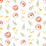 Seamless background made of cheese, rosemary and tomato in linea Stock Images