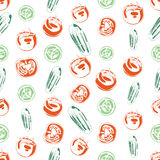 Seamless background made of cucumber and tomato in linear style Stock Photo
