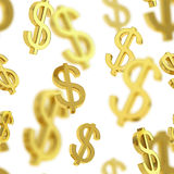 Seamless background made of dollar signs. Seamless background texture pattern made of golden usd dollar currency signs over white Stock Photography