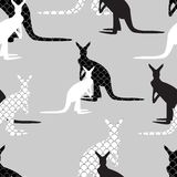 Seamless Background made of kangaroo in black and white colors Stock Photo