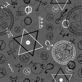 Seamless background with magic symbols and pentagramm Royalty Free Stock Image