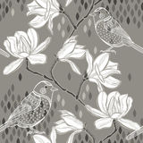 Seamless  background with magnolia and birds. Royalty Free Stock Photos