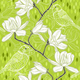 Seamless  background with magnolia and birds. Spring background. Royalty Free Stock Photography