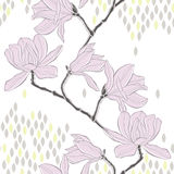 Seamless  background with magnolia. Royalty Free Stock Photography