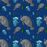 Seamless background with manatee underwater Stock Images
