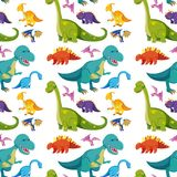 Seamless background with many dinosaurs stock illustration