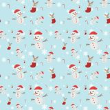 Seamless background with many snowmen stock illustration