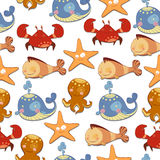 Seamless background of marine animals Royalty Free Stock Photos