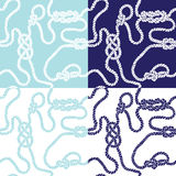Seamless background with marine knots. 4 types of seamless background with marine knots Royalty Free Stock Image